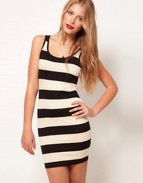Image 1 ofASOS Mini Bodycon Dress In Wide Stripe