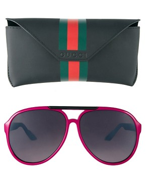 Image 2 ofGucci Pink Slim Aviator Sunglasses