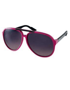 Image 1 ofGucci Pink Slim Aviator Sunglasses