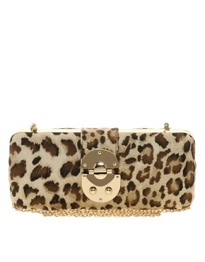 Image 1 ofNali Leopard Box Clutch Bag With Clasp Detail