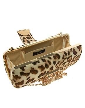 Image 2 ofNali Leopard Box Clutch Bag With Clasp Detail