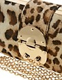 Image 4 ofNali Leopard Box Clutch Bag With Clasp Detail
