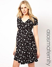 ASOS Maternity Wrap Skater Dress In Bird Print