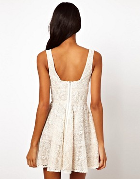 Image 2 ofElise Ryan V Neck Lace Skater Dress