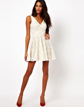 Image 4 ofElise Ryan V Neck Lace Skater Dress