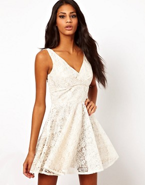 Image 1 ofElise Ryan V Neck Lace Skater Dress