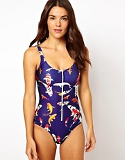 We Are Handsome School Zip One Piece Swimsuit