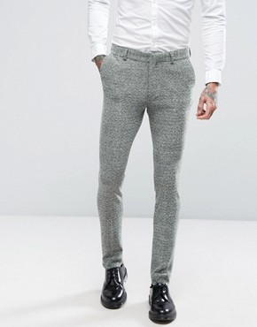 ASOS Super Skinny Suit Trousers in Green And Grey Jersey Twist