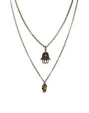 Jamie Jewellery Skull &amp; Hamsa Hand Lucky Charm Necklace
