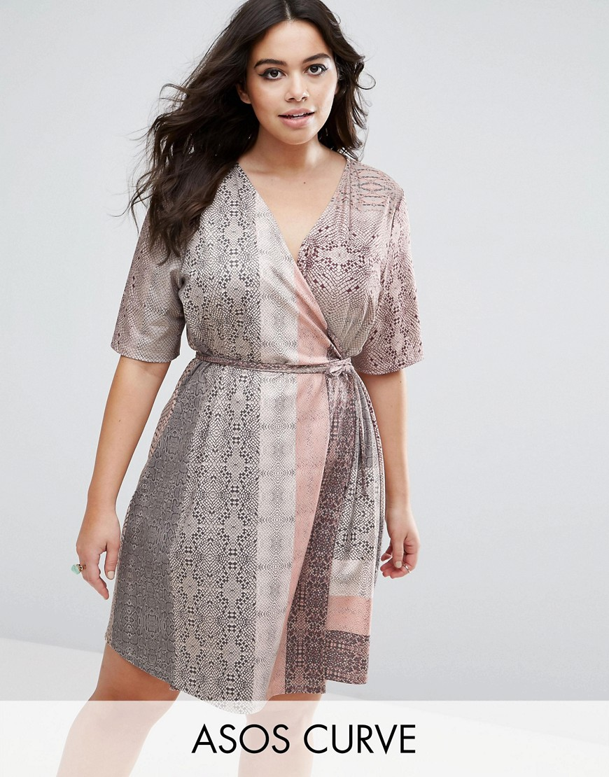 ASOS CURVE Snakeskin Print Wrap Detail Shift Dress - Multi