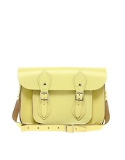 Satchel de cuero en amarillo limn de 11&#39;&#39; de Cambridge Satchel Company