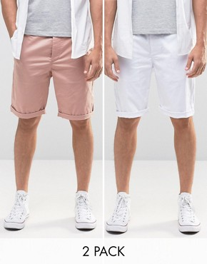 ASOS 2 Pack Slim Long Length Chino Shorts In Pink And White SAVE 17%