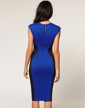 Image 2 of TFNC Pencil Midi Dress Curved Contour Detail