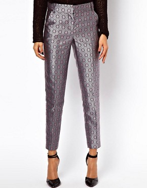 Image 4 ofASOS PETITE Exclusive Metallic Geo Print Trousers