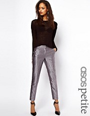 ASOS PETITE Exclusive Metallic Geo Print Trousers