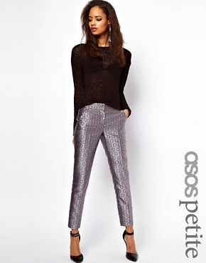Image 1 ofASOS PETITE Exclusive Metallic Geo Print Trousers