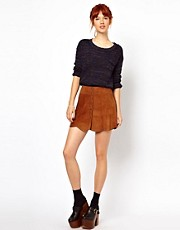 Ganni Suede Mini Skirt with Popper Front Detail