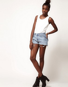 Image 1 ofReclaimed Vintage Levi&#39;s Shorts With High Waist In Light Stonewash