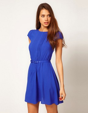 Image 1 ofASOS Skater Dress With Pintucks And Self Belt
