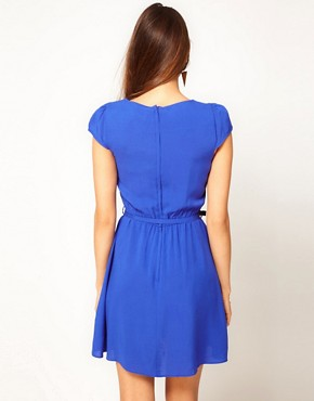 Image 2 ofASOS Skater Dress With Pintucks And Self Belt