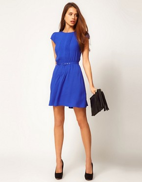 Image 4 ofASOS Skater Dress With Pintucks And Self Belt