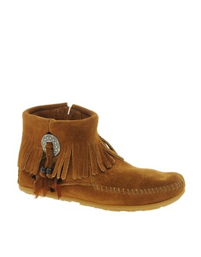 Image 1 ofMinnetonka Concho Feather Side Zip Brown Ankle Boots