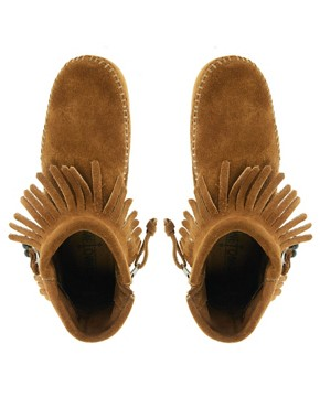 Image 3 ofMinnetonka Concho Feather Side Zip Brown Ankle Boots