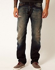 Replay Jeans Jennon Low Straight Fit Rip N Repair