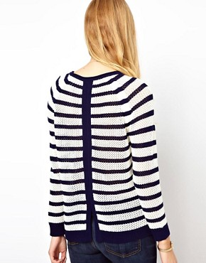 Image 2 ofWhistles Alexis Stripe Lace Stitch Sweater
