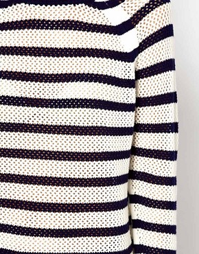 Image 3 ofWhistles Alexis Stripe Lace Stitch Sweater