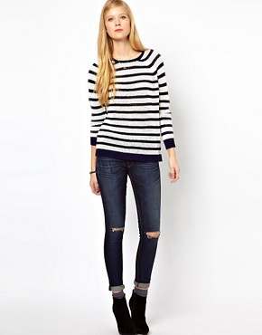 Image 4 ofWhistles Alexis Stripe Lace Stitch Sweater