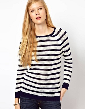 Image 1 ofWhistles Alexis Stripe Lace Stitch Sweater