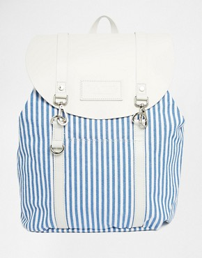 Jack Wills Blue/Stripe Canvas & Leather Backpack