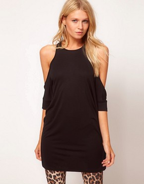Image 1 ofASOS Top with Extreme Cold Shoulder and Wrap Back