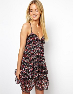 Image 1 of ASOS Summer Dress With Ruched Up Hem In Ditsy Print