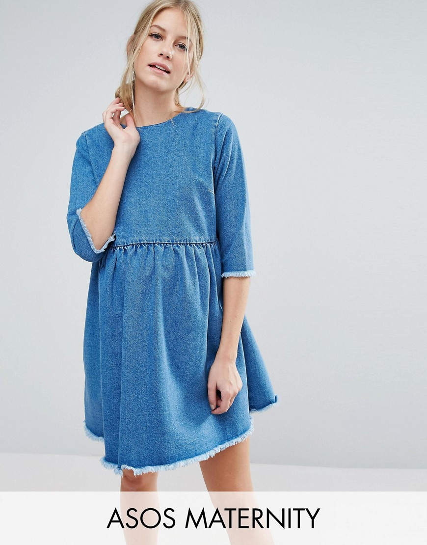 ASOS MATERNITY Denim Smock Dress in Mid Wash Blue - Blue
