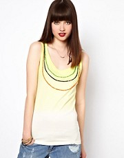 Eleven Paris Beaded Neckline Tank in Dip Dye