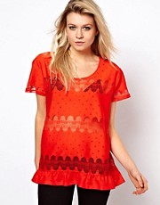 ASOS T-Shirt with Peplum in Lace Spot