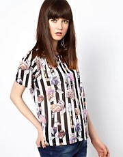 HOUSE OF HACKNEY Raglan Tee in Hackney Empire Print with Stripe