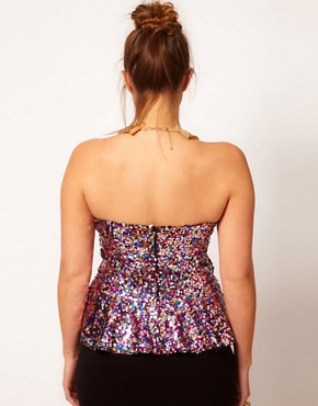 Image 2 ofASOS CURVE Sweetheart Peplum In Multi Sequins
