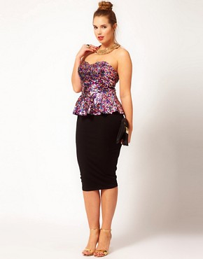 Image 4 ofASOS CURVE Sweetheart Peplum In Multi Sequins
