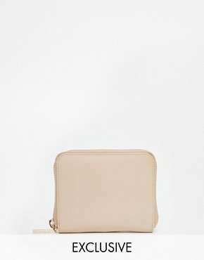 Whistles Exclusive Leather Zip Around Purse in Nude