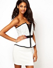 Lipsy Structured Peplum Dress with Lace Panels