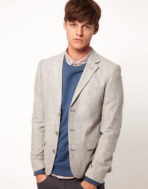 Image 1 of ASOS Slim Fit Blazer In Tweed