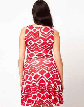 Image 2 ofASOS CURVE Exclusive Skater Dress In Graphic Print