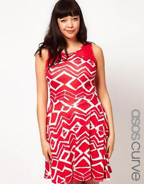 Image 1 ofASOS CURVE Exclusive Skater Dress In Graphic Print