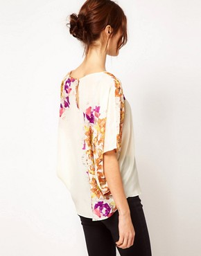 Image 2 of Warehouse Circle Butterfly Print Tunic In Silk