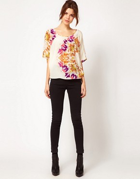 Image 4 of Warehouse Circle Butterfly Print Tunic In Silk