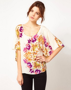Image 1 of Warehouse Circle Butterfly Print Tunic In Silk