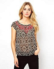 Vila Embroidered Ikat Top